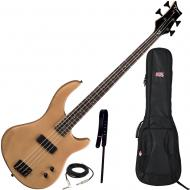 Dean Edge 09 Satin Natural Bass Guitar, Wide Leather Strap, and Gig Bag