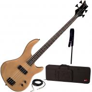 Dean Edge 09 Satin Natural Bass Guitar, Wide Leather Strap, and Rigid Case