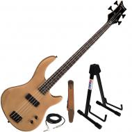 Dean Edge 09 Satin Natural Bass Guitar, Brown Suede Strap, and Adjustable Stand