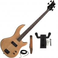 Dean Edge 09 Satin Natural Bass Guitar, Brown Suede Strap, and Hanger Mount