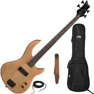 Dean Edge 09 Satin Natural Bass Guitar, Brown Suede Strap, and Gig Bag
