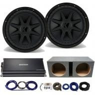 Kicker 44CVX122 CompVX Subwoofers with 43CXA18001 Amplifier & Vented Sub Box