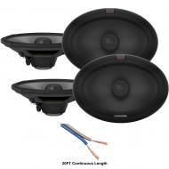 "Alpine R-S69.2 Car Audio Type R Series 6x9"" 600W Speakers - 2 Pair with 20' Wire"