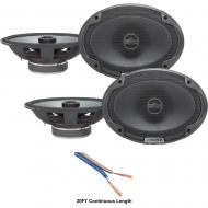 "Alpine SPE-6090 Car Audio Type E 6x9"" 600W Speakers - 2 Pair with 20' Wire"