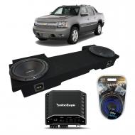 02-13 Chevy Avalanche Underseat Rockford R1S412 Dual 12 Sub Box R2-250X1 Amp