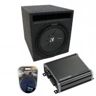 """Universal Car Stereo Slotted S Port Single 12"""" Kicker CompR CWR12 Loaded Sub Box Bundle with..."""