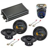 Compatible with Mitsubishi Lancer 08-15 OEM Speaker Replacement Harmony (2) R65 & CXA360.4 Amp