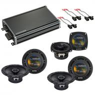 Compatible with Hummer H2 2003-2007 OEM Speaker Replacement Harmony (2) R65 R4 & CXA360.4 Amp