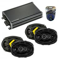 Compatible with Jeep Liberty 2008-2013 Speaker Replacement Kicker (2) DSC693 & CXA360.4 Amp