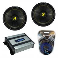 """Kicker (2) CWS12 Car Audio CompC Subwoofer 12"""" Sub 44CWCS124 Bundle with Harmony HA-A400.1 A..."""