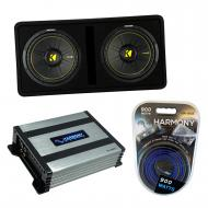 """Kicker DCWC12 Car Audio CompC Ported Dual 12"""" Loaded Sub Box 44DCWC122 Bundle with Harmony H..."""