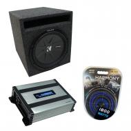 """Universal Car Stereo Slotted S Port Single 8"""" Kicker CompR CWR8 Loaded Sub Box Bundle with H..."""