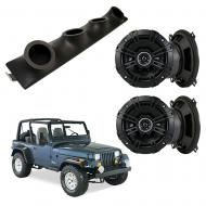 "Jeep Wrangler YJ TJ JK Kicker System DSC50 Custom Quad (4) 5 1/4"" Speakers Power Sports UTV Pod"