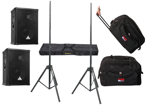 "DJ Package Behringer Pro Audio (2) E1220A Powered 400 Watt 12"" Mixer Speakers with Adjustable Stands & (2) Gator Cases Rolling Gig Bags"
