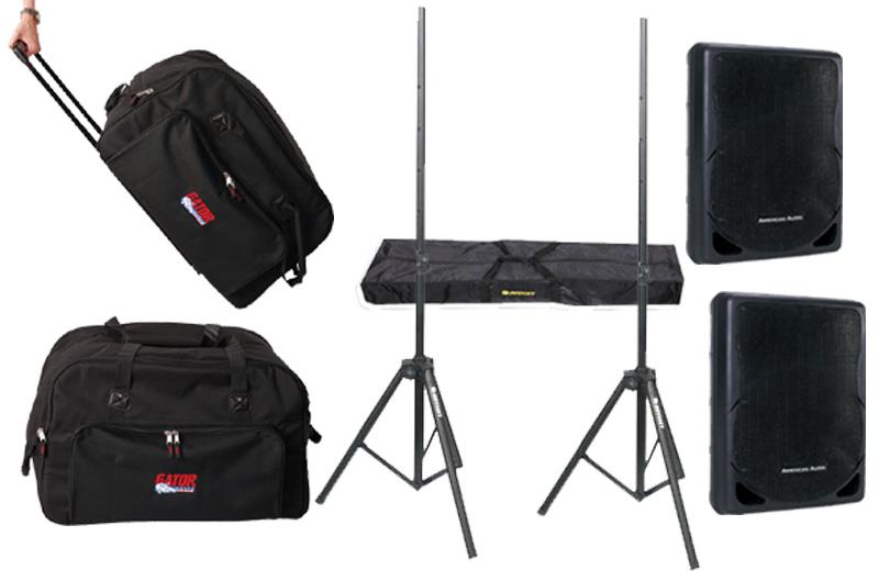 "DJ Package American Audio Pro (2) XSP-12 Passive 12"" 700 Watt Speakers and Gator Cases (2) Rolling Speaker Bags & Adjustable Stands System"