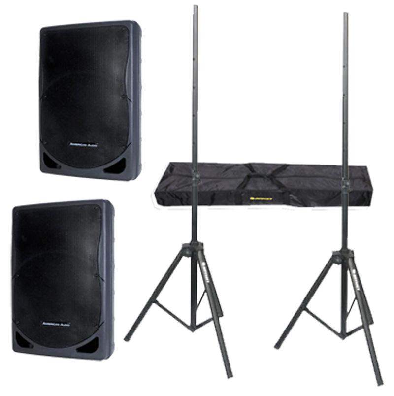 "DJ Package American Audio Pro (2) XSP-12 Passive 12"" 700 Watt Speakers, Gemini XGA-2000 Power 2000W Amplifier & Adjustable Speaker Stands"