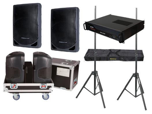 "DJ Package American Audio Pro (2) XSP-15 Passive 15"" 800 Watt Speakers, Gemini XGA-4000 Power Amplifier, Gator Cases G-TOUR 2X15-SPKR Rolling Caster Wheel Case with Stands"