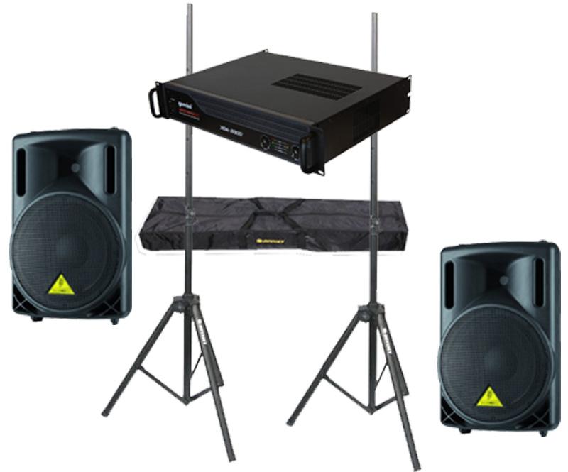 "DJ Package Behringer Pro Audio (2) B215XL Passive 1000 Watt 12"" Speakers with Adjustable Stands & Gemini XGA-2000 Power Amplifier System"