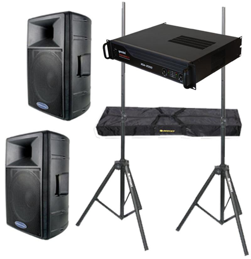 "DJ Package American Audio Pro (2) DLS-15 Passive 15"" 900 Watt Speakers, Gemini XGA-2000 Power 2000W Amplifier & Adjustable Speaker Stands"