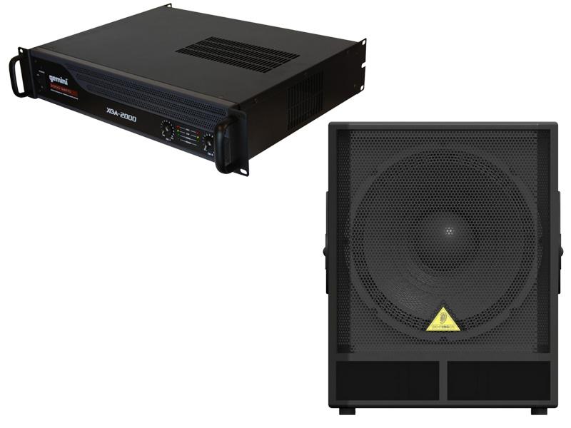 "DJ Package Behringer Pro Audio VP1800S Passive 18"" 1600 Watt Subwoofer and Gemini XGA-2000 Professional 2000W Amplifier"