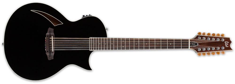 ESP LTD TL-12S BLK 12-String TL-Series Acoustic-Electric Guitar - Black Finish (LTL12BLK)