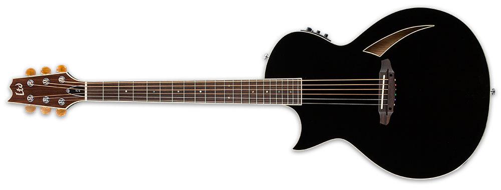 ESP LTD TL-6S BLK L/H 6-String TL-Series Left-Handed Acoustic-Electric Guitar - Black Finish (LTL6BLKLH)