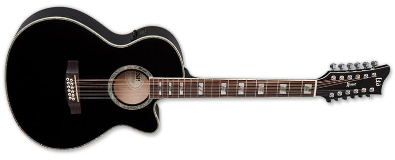 ESP LTD AC-10E-12 Xtone 12 String Acoustic Guitar Black Finish (XAC10E12BLK)