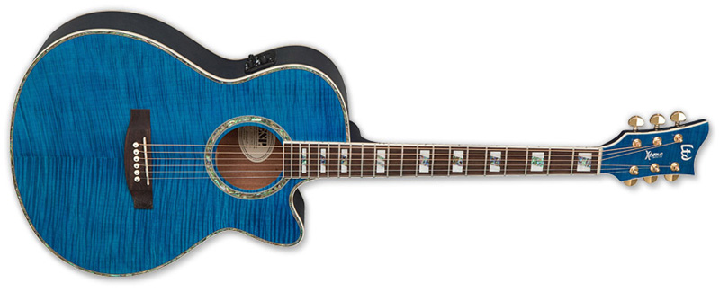 ESP LTD AC-20E Acoustic Electric Guitar See Thru Blue Finish (XAC20EFMSTB)