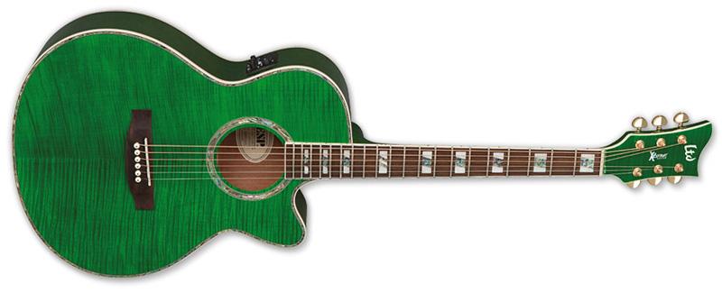 ESP LTD AC-20E Acoustic Electric Guitar See Thru Green Finish (XAC20EFMSTG)