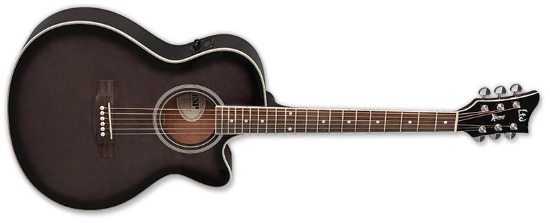 ESP LTD AC5E Xtone Spruce Top Acoustic-Electric Guitar, See Thru Black Sunburst Finish (XAC5ESTBLKSB)