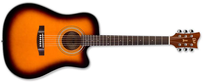 ESP LTD Xtone DC5E Acoustic-Electric Guitar, 2-Tone Sunburst Finish (XDC5E2TB)