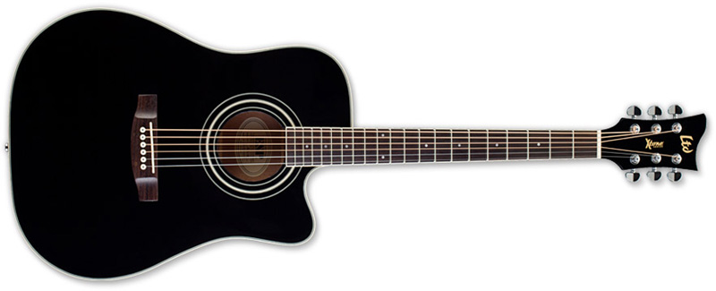 ESP LTD Xtone DC5E Acoustic-Electric Guitar, Black Finish (XDC5EBLK)