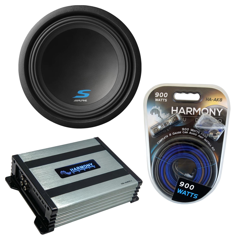 "Alpine S-W12D4 Car Audio Type S Series Sub 1200W Peak 12"" Subwoofer Bundle with Harmony HA-A400.1 Amplifier & Amp Kit"