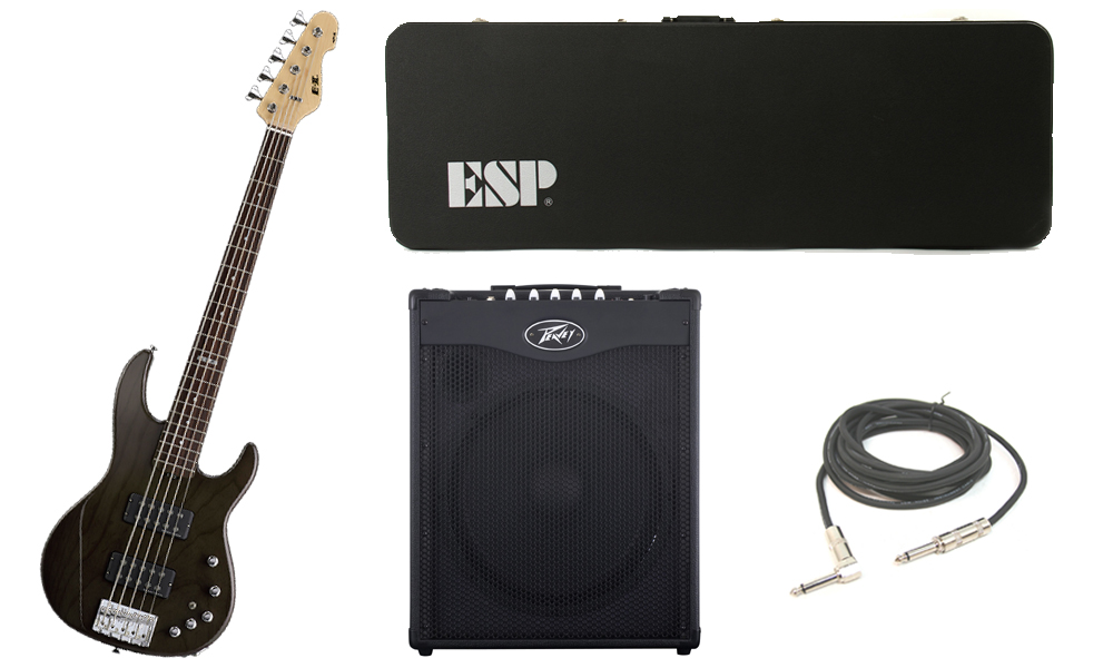 """ESP E-II AP-5 White Ash Body 5 String Rosewood Fingerboard See Through Black Electric Bass Guitar with Peavey MAX 115 Combo Amp & 1/4"""" Cable"""