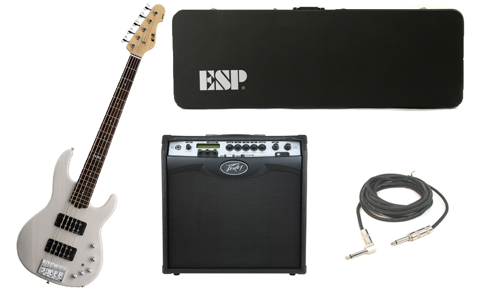 "ESP E-II AP-5 White Ash Body 5 String Rosewood Fingerboard See Through White Electric Bass Guitar with Peavey VIP 3 Modeling Amp & 1/4"" Cable"