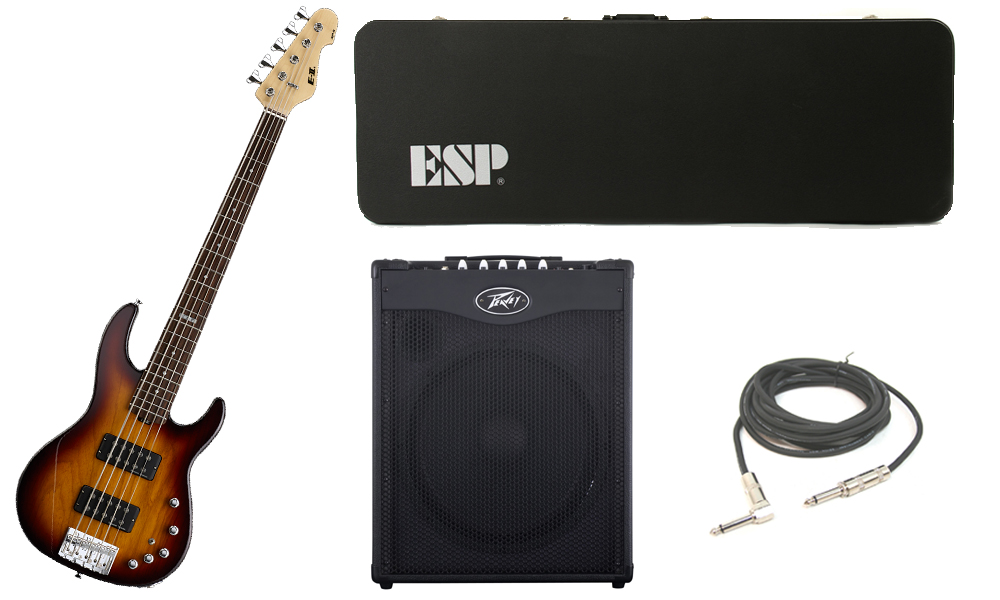 """ESP E-II AP-5 White Ash Body 5 String Rosewood Fingerboard Tobacco Sunburst Electric Bass Guitar with Peavey MAX 115 Combo Amp & 1/4"""" Cable"""