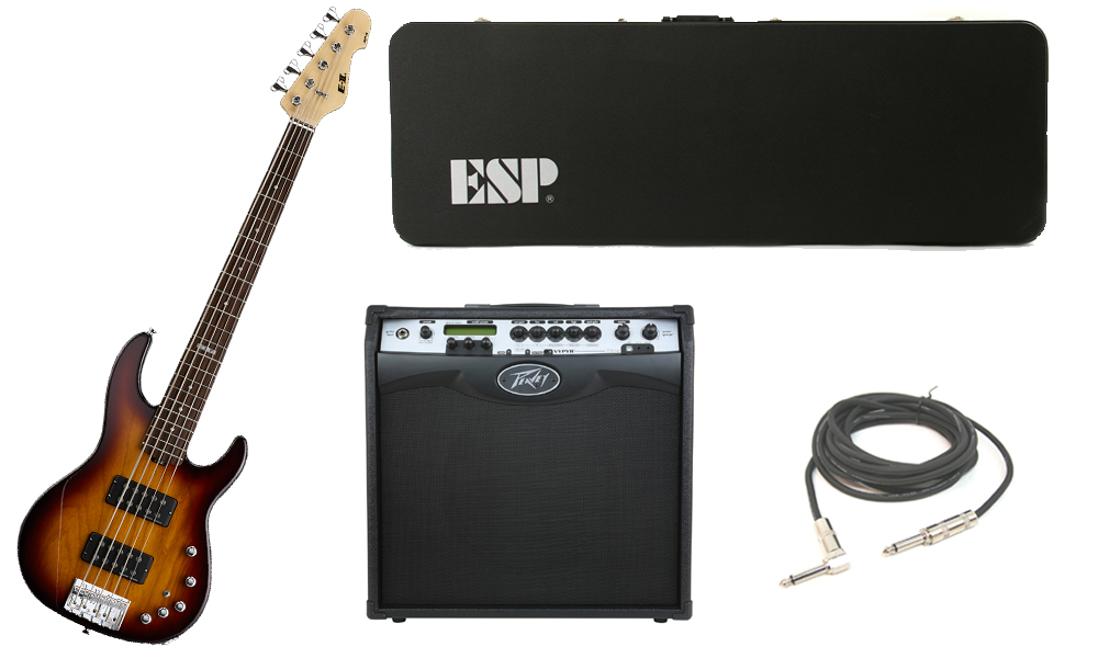 """ESP E-II AP-5 White Ash Body 5 String Rosewood Fingerboard Tobacco Sunburst Electric Bass Guitar with Peavey VIP 3 Modeling Amp & 1/4"""" Cable"""
