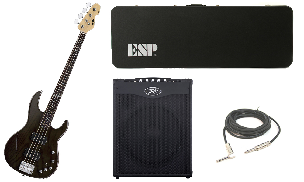 "ESP E-II AP-4 White Ash Body 4 String Rosewood Fingerboard See Through Black Electric Bass Guitar with Peavey MAX 115 Combo Amp & 1/4"" Cable"