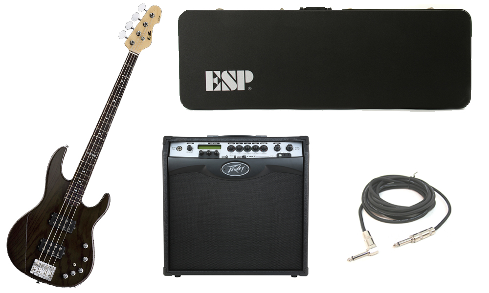 "ESP E-II AP-4 White Ash Body 4 String Rosewood Fingerboard See Through Black Electric Bass Guitar with Peavey VIP 3 Modeling Amp & 1/4"" Cable"