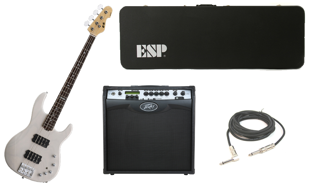 """ESP E-II AP-4 White Ash Body 4 String Rosewood Fingerboard See Through White Electric Bass Guitar with Peavey VIP 3 Modeling Amp & 1/4"""" Cable"""
