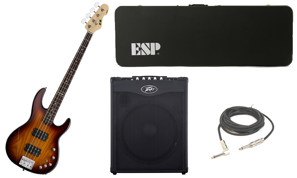 """ESP E-II AP-4 White Ash Body 4 String Rosewood Fingerboard Tobacco Sunburst Electric Bass Guitar with Peavey MAX 115 Combo Amp & 1/4"""" Cable"""