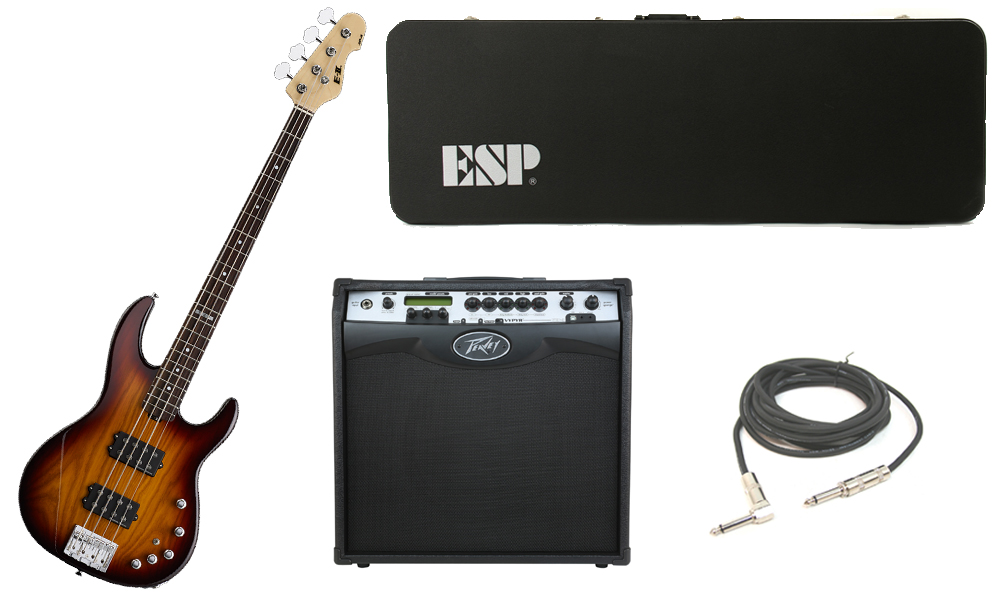 "ESP E-II AP-4 White Ash Body 4 String Rosewood Fingerboard Tobacco Sunburst Electric Bass Guitar with Peavey VIP 3 Modeling Amp & 1/4"" Cable"