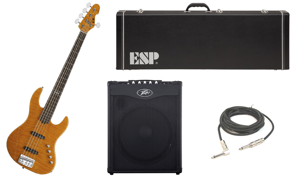 """ESP E-II J-5 Quilted Maple 5 String Rosewood Fingerboard Amber Electric Bass Guitar with Peavey MAX 115 Combo Amp & 1/4"""" Cable"""