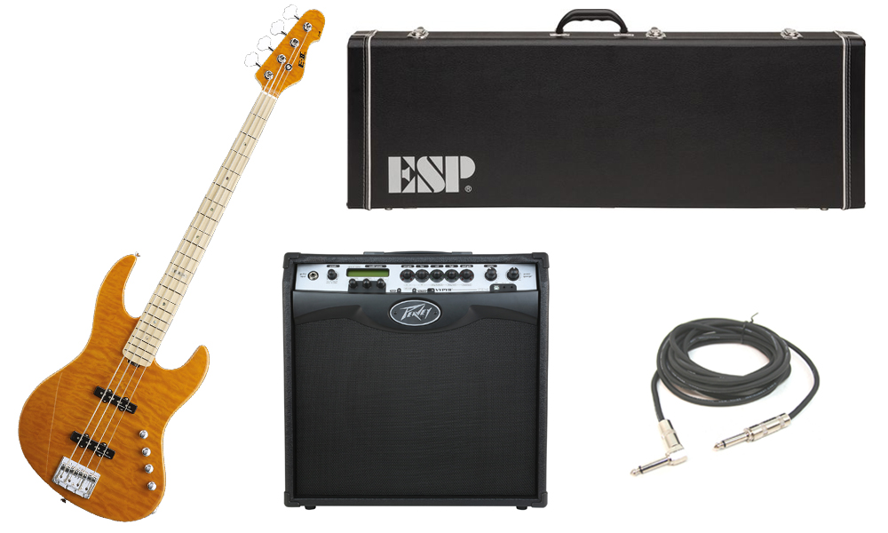 """ESP E-II J-4 Quilted Maple 4 String Rosewood Fingerboard Amber Electric Bass Guitar with Peavey VIP 3 Modeling Amp & 1/4"""" Cable"""