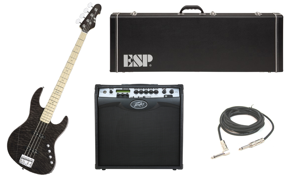 """ESP E-II J-4 Quilted Maple 4 String Rosewood Fingerboard See Through Black Electric Bass Guitar with Peavey VIP 3 Modeling Amp & 1/4"""" Cable"""