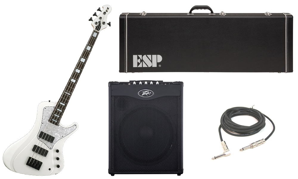 "ESP E-II Stream Series White Ash Body 4 String Rosewood Fingerboard White Electric Bass Guitar with Peavey MAX 115 Combo Amp & 1/4"" Cable"