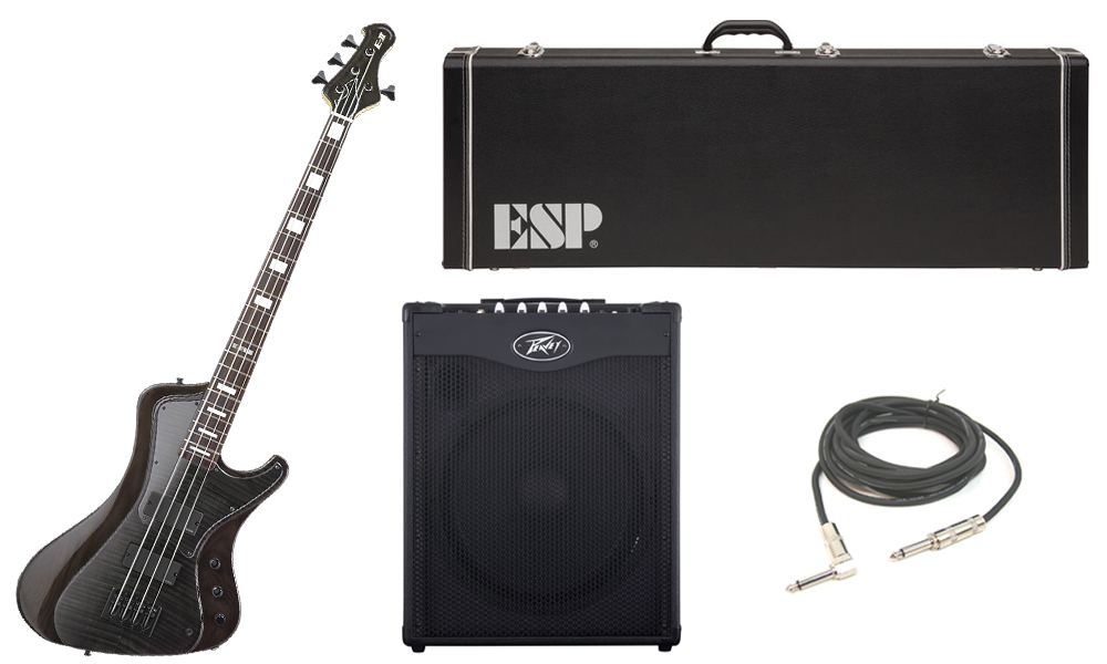 """ESP E-II Stream Series Flamed Maple Top 4 String Rosewood Fingerboard See Through Black Electric Bass Guitar with Peavey MAX 115 Combo Amp & 1/4"""" Cable"""