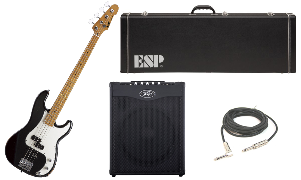 """ESP E-II Vintage Series Alder Body 4 String Maple Fingerboard Black Electric Bass Guitar with Peavey MAX 115 Combo Amp & 1/4"""" Cable"""
