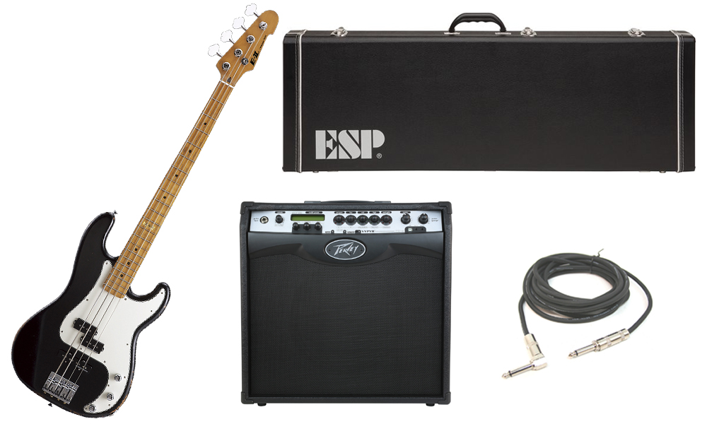 """ESP E-II Vintage Series Alder Body 4 String Maple Fingerboard Black Electric Bass Guitar with Peavey VIP 3 Modeling Amp & 1/4"""" Cable"""