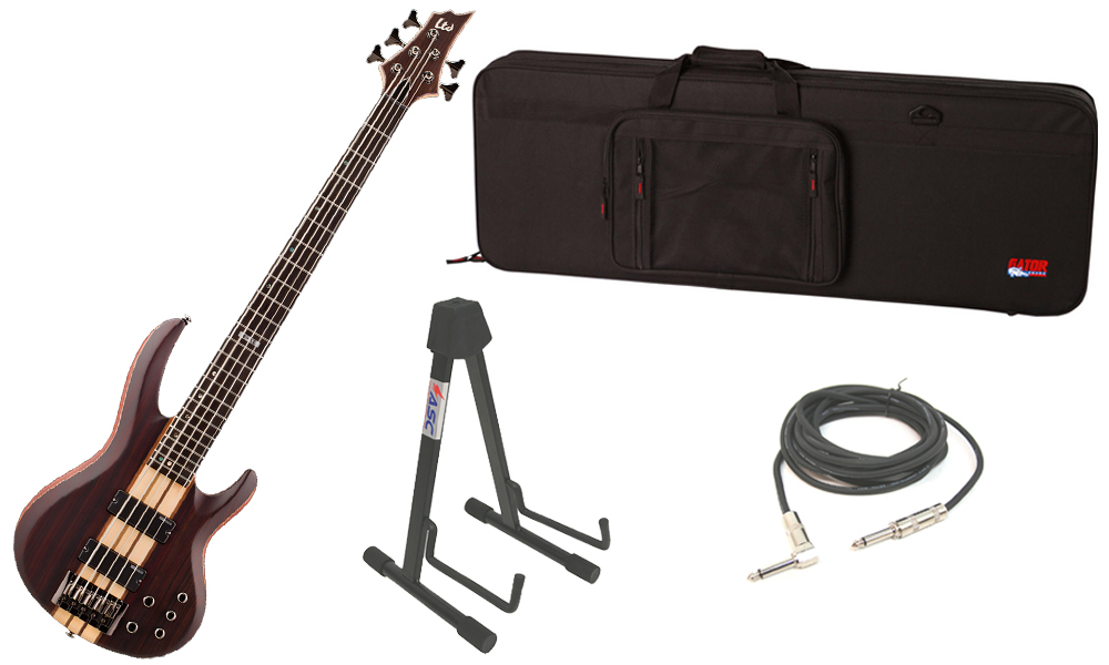 "ESP LTD B Series B-5E Mahogany Body 5 String Ebony Fingerboard Natural Satin Electric Bass Guitar with Travel Road Case, Stand & 1/4"" Cable"